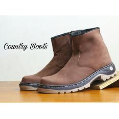 Jual Sepatu Boots Safety Kulit Asli Pria High Quality Country Boots Ampibi Brown Country Boots Online