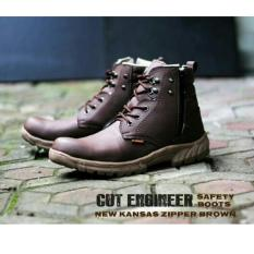 Sepatu Boots Safety Pria / Boots Formal Pria Terbaru - CUT ENGINEER CE41 - Coklat