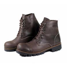Jual Sepatu Boots Safety Pria Sepatu Kulit Asli Pull Up Pitbull Coklat Wolf Grosir