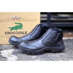 sepatu boots safety shoes ujung besi gunung hikking tracking crocodile morisey black sepatu pria Sepatu Safety Boots Pria Kulit Sapi Asli Murah dan Berkualitas - Black coklat