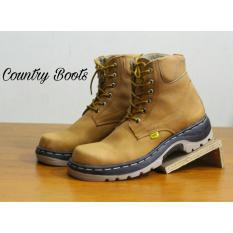 Harga Sepatu Boots Safty Pria Terbaru Kulit Asli Country Boots Badius Safty Brown Terbaik