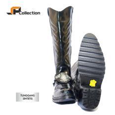 JAFERI Sepatu Boots Tunggang Sintetis Warna Hitam Sepatu Dinas POLRI, TNI, DISHUB, LLAJ, DLL