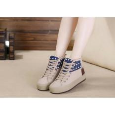 Sepatu Boots Wanita Korea Cream