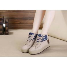 Sepatu Boots Wanita Sneakers Korea CM16 Cream