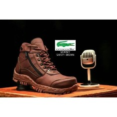 Sepatu Boots Work Safety Suede Hiking Casual Travelling Bikers Ujung Besi Suede hitam safety shoes Touring Pria Cowok - Coklat Sepatu Boots Safety PDH - PDL Kulit Warna TAN lapangan