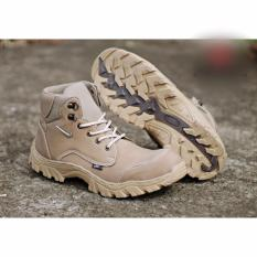 Sepatu Boots  Zipper  Safety Ujung Besi Pria Tracking/Gunung Boot FIYU leather model baru kasual gaya kuat Krem Cream Hitam