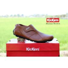 Sepatu Casual Pria Slip On Pria Kickers Monza Kulit Asli - Free Kaos Kaki