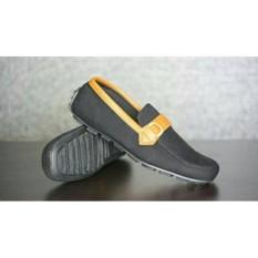 Sepatu casual slipon pria bally moccasin denim