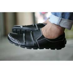 Sepatu Casual slop Kickers Men's Kerut Dark Black