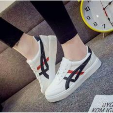 Sepatu Casual Wanita Putih Garis Hitam Merah Sc12 Diskon Akhir Tahun