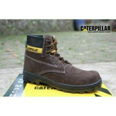 Sepatu caterpillar safety boots best seller (COKLAT TUA)