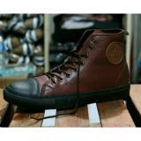 Jual Sepatu Connversee Lokal Semi Kulit Tinggi Hitam Dark Coklat Handmade Branded