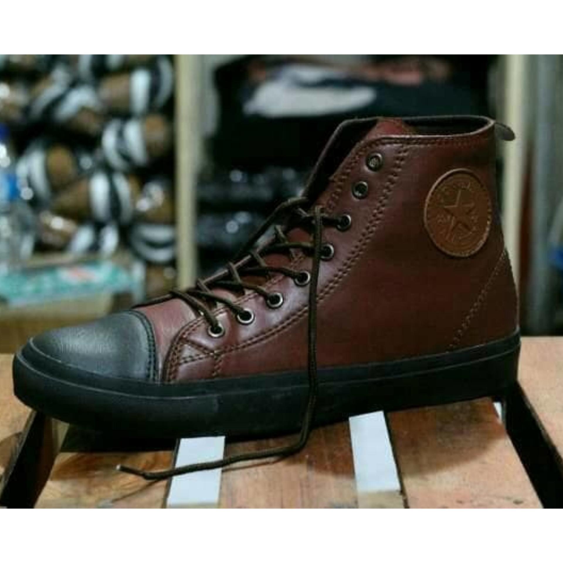 Sepatu Connversee Lokal semi kulit tinggi - Hitam & Dark Coklat