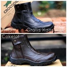 Sepatu Crocodile Boots Safety Sefty Ujung Besi - Sepatu Proyek Kickers Gunung Caterpillar