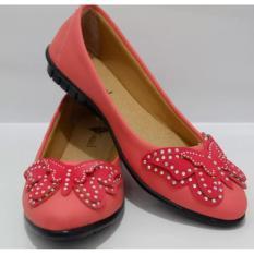 Sepatu Flat Shoes Ballet Butterfly Peach