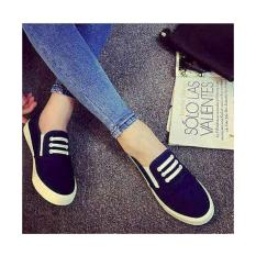 Harga Sepatu Flat Shoes Casual Jeans Navy New