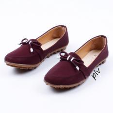 Harga Sepatu Flat Shoes Murah Sol Tebal Bv01 Maroon Universal Asli