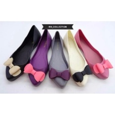 Diskon Sepatu Flat Shoes Wanita Cewe Karet Jelly Pita Ribbon Teplek