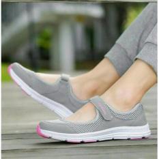 Sepatu Flat Sneaker Slip on MH22 - Abu