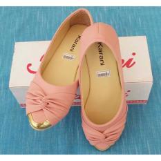 Harga Sepatu Wanita Flatshoes Warna Pink Hitam Kr039 New