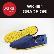 Jual Sepatu Flat Wakai 691 Warna Biru Sol Kuning Branded Original
