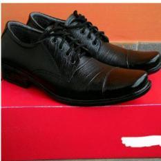 Sepatu pantofel formal pria kickers  tali kerja kantoran dinas resmi bahan kulit sapi asli hitam