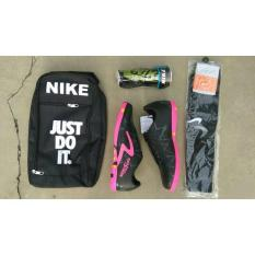 Sepatu Futsal Keren HITAM GARIS PINK 01 Kuat Bonus Tas, Decker Dan Kaos Kaki Sepatu Futsal Keren/ Sepatu Futsal Murah / Sepatu Futsal Kuat
