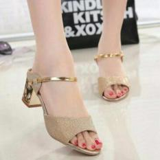 Beli Sepatu Heels Dubay Wanita Gold Online Terpercaya
