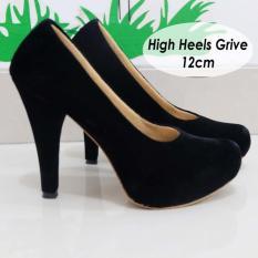 Review Sepatu High Heels Suede Beludru Halus 12Cm Universal
