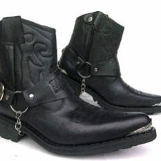 Sepatu Jenggel  / Boot Pria / Touring / Black Bahan Kulit - C65ddd