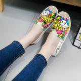 Jual Sepatu Kanvas Wanita Sol Datar San Versi Korea Putih Branded