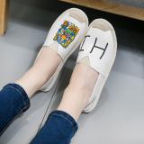 Review Sepatu Kanvas Wanita Sol Datar San Versi Korea Putih Susu