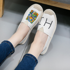 Harga Sepatu Kanvas Wanita Sol Datar San Versi Korea Putih Susu Online Tiongkok