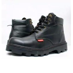 spartan - sepatu kerja boots safety tali / sepatu kerja dapur / sepatu kerja kitchen bahan kulit sapi warna hitam