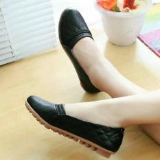 Sepatu kerja flat shoes kerut hitam krem baru murah