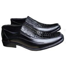 Sepatu Kerja Pantofel Pria Motif kulit Buaya - Hitam