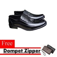 Sepatu Kerja Pria Kantor Pantofel Kulit Sintetis Model Kombinasi Kulit Buaya Free Dompet Zipper - Hitam