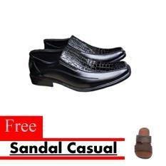 Sepatu Kerja Pria Kantor Pantofel Kulit Sintetis Model Kombinasi Kulit Buaya Free Sandal Casual - Hitam