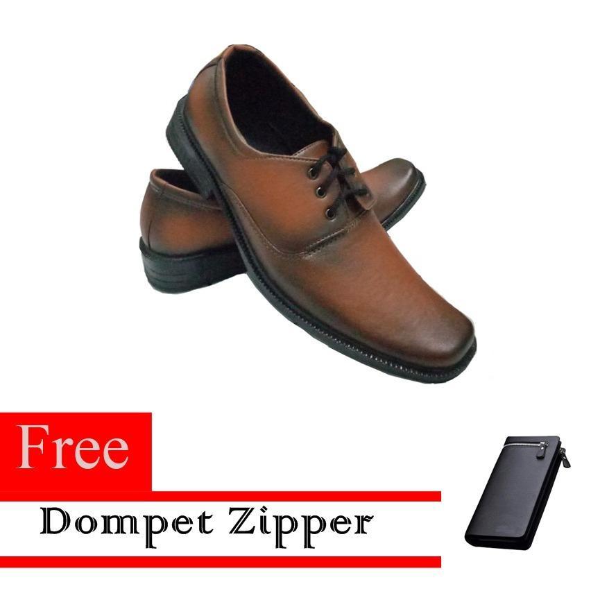 Sepatu Kerja Pria Kantor Pantofel Kulit Sintetis Model Tali Free Dompet  Zipper Resleting - Coklat 861f2574c4