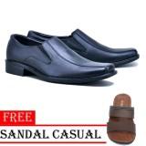Harga Sepatu Kerja Pria Pantofel Kulit Sintetis Free Sandal Casual Hitam Baru Murah