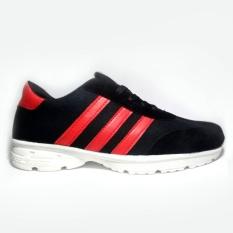 Spesifikasi Sepatu Kets Sneakers Pria Hitam Garis Merah Baru