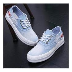 Sepatu Kets Wanita Bahan Jean Ripped Biru Muda