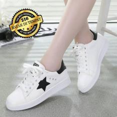 Sepatu Kets Wanita Bintang Hitam - Sepatu Cewek Murah - Fashionable - Putih