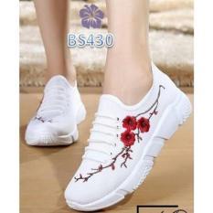 Promo Sepatu Kets Wanita Bordir Bunga Putih Allamanda Bs Murah