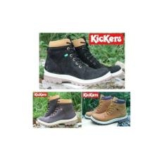 Sepatu Kickers Boots Tracking Safety Ujung Besi Gunung Motor Pria Kerja Lapangan Warna Coklat Hitam Tan