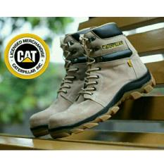 Sepatu Kickers Caterpillar Woods Safety Boots Suede Leather Broken White
