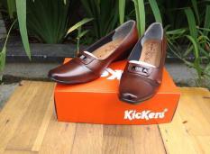 Beli Sepatu Kickers Pantofel Wanita Cewek Kulit Sapi Asli Merah Murah