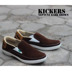 Cuci Gudang Sepatu Kickers Slop Neptune Coklat Tua