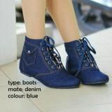 Spek Sepatu Korea Boot Boots Flat Wanita Jeans Dm Biru Universal