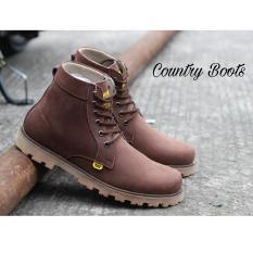 Sepatu Kulit Asli Boots Original Pria Modis Terlaris - COUNTRY BOOTS GUNDUL 02 - Brown